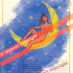 Yoga-Illustration: Mondpunkte, Moonpoints